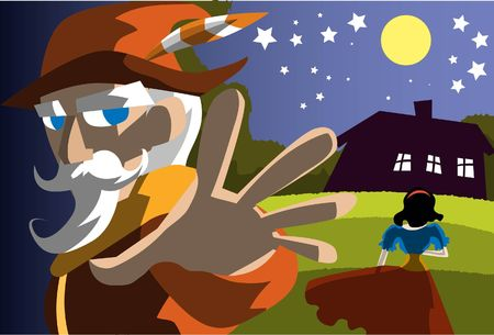woodcutter: An image of the woodcutter leaving while Snow White is walking towards a tiny cottage in the middle of a meadow in the middle of the night Stock Photo