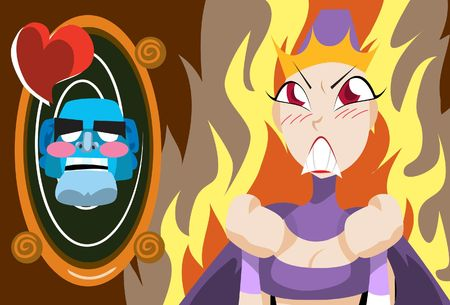 An image of the evil queen burning with anger as the magic mirror tells her that Snow White is still the fairest maiden in the kingdom, while the mirror is looking abashed