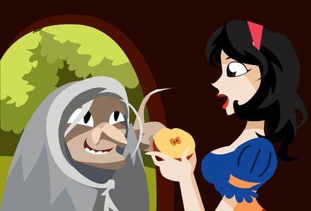 poisonous: An image of the evil queen dressed up as an old hag offering the poisonous half of the apple to Snow White