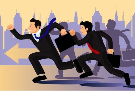business rival:  An image of businessmen carrying briefcases and running