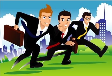 business rival: An image of three businessmen running as if they are racing one another