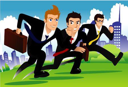 business rival: Una imagen de tres empresarios ejecutando como si ellos son carreras de uno a otro Foto de archivo