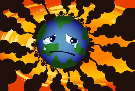 An image of the globe crying while flames are emerging from all sides Stock Photo - 6546458