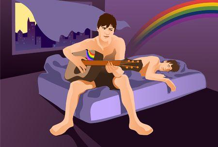 Una imagen de dos hombres desnudos-pecho, con una mentira dormido en la cama, mientras que el otro est� sentado en la cama rasgando una guitarra  Foto de archivo - 6546450