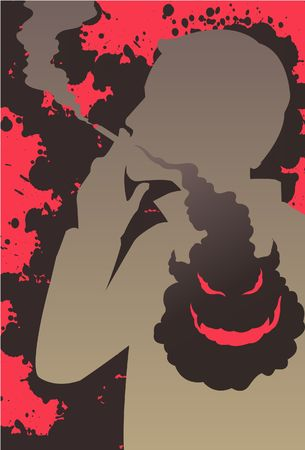 malignancy: An image showing a silhouette of man smoking a cigarette while the smoke is going into his chest and forming an evil and demonic looking face