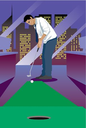 An image showing a manager relaxing in his office by playing mini golf, and trying to put the golf ball into the hole Stock Photo - 6546555