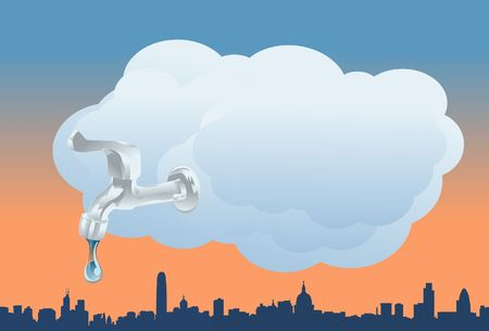 deluge: An image showing a huge white cloud hovering over a city with a faucet attached to it, and a drop of water is spilling from faucet onto the city
