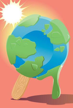ice cream stick: Una imagen que muestra el mundo como un punto de fusi�n helado en un palo de helado, mientras que el sol est� brillando brillantemente  Foto de archivo