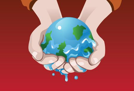 An image of melting earth clasped in the palms of the hand photo