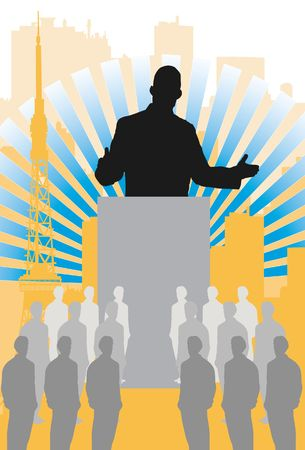 dais: An image showing a silhouette of a man standing behind a dais and addressing a group of people