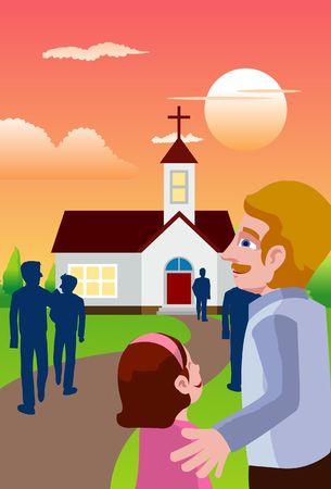 going in: Una imagen de las personas que van por la noche a una capilla para asistir a la masa