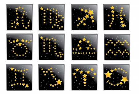 An image of all the astrological signs made with stars in a night sky