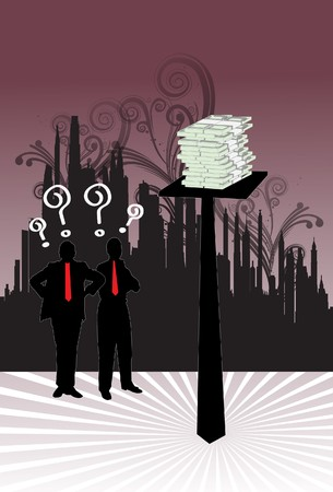 An image of two contemplating businessmen standing next to a pole that has a pile cash and the men are wondering how to get to the cash Stock Photo