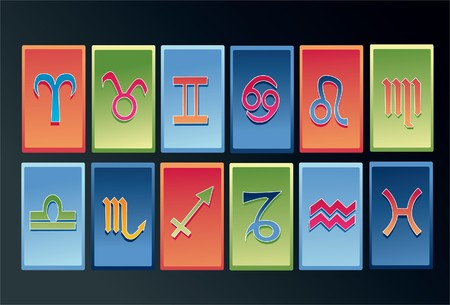An image showing the symbols of all the 12 signs of the zodiac photo
