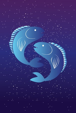 An image showing two fish that depict the star sign of Pisces