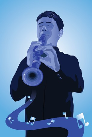 An image showing a man playing a flute Stock Photo - 6963098