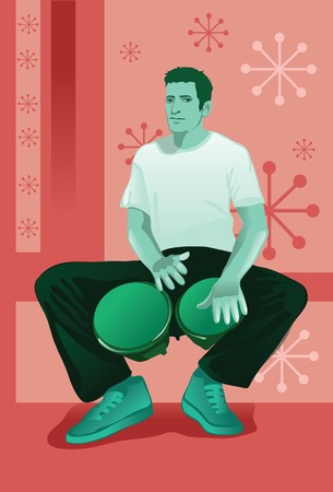 drumming: An image showing a man sitting down and holding a bongo between his knees and drumming it with both his hands