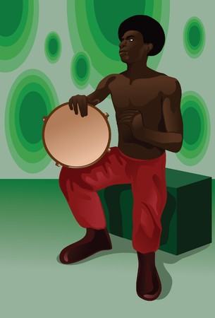 percussionist: An image showing a man sitting bare-chested wearing red pants and beating on a type of African drum