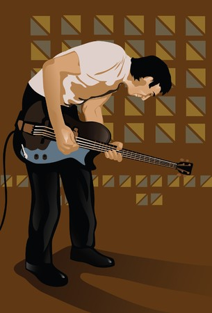 leaning forward: An image showing a young man playing an electric guitar while leaning forward