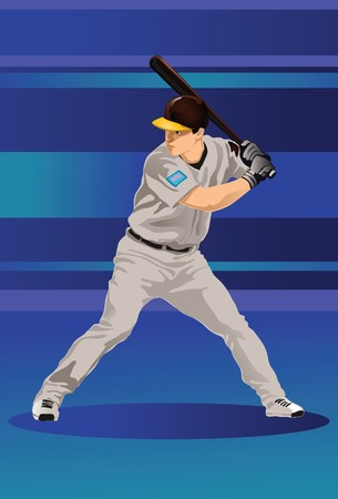 An image showing a baseball player holding a bat and ready to strike a baseball  Stock Photo