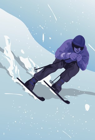 sportsperson: An image of a man wearing skiing and winter gear, and skiing down a mountain slope