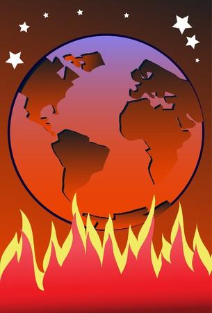 lluvia acida: Una imagen que muestra una tierra de color rojizo en virtud del cual las llamas se quema alta y calefacci�n hasta la tierra