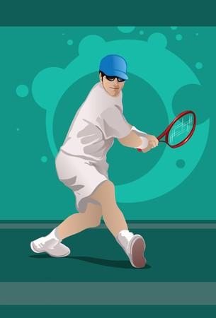 backhand: Una imagen que muestra a un jugador de tenis al golpear un rev�s a manos de doble  Foto de archivo