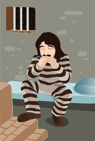 slammer: An image showing a male prisoner in prison uniform sitting on a bed in the cell and playing the harmonica