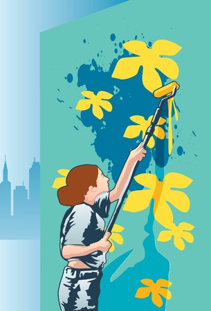 handled: An image showing a woman using a long handled roller brush and painting yellow flowers on a wall