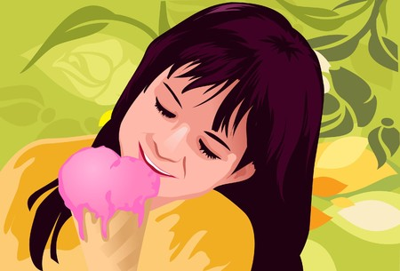 Una imagen de una niña comiendo un cono de helado de fresa con sabor  Foto de archivo - 7025546