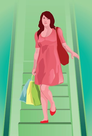 Image of a shopping customer who is walking down from the stair of the mall.