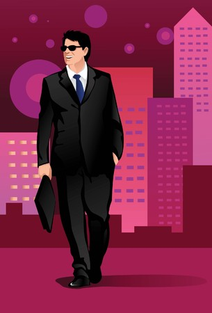 Image of a businessman who is walking happily around town. Stock Photo