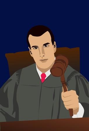 verdict: Image of a judge who is handing his verdict in court. Stock Photo