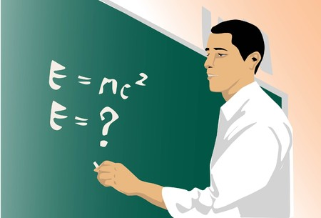 Image of a physicist who is working on his formula on a chalk board.