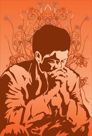 Imagen de un hombre que est� orando a Dios en paz.  Foto de archivo - 7159773