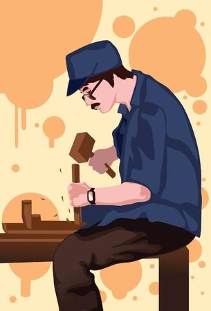 Imagen de un carpintero que está trabajando en su artesanía.  Foto de archivo - 7159862
