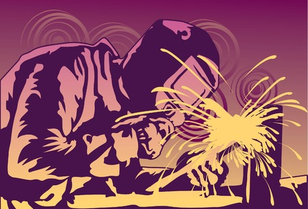 Image of an engineer who is welding a metal for construction