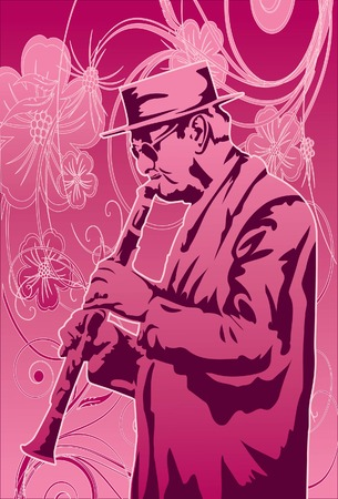 clarinet player: Image of a clarinet player who is performing his music for a show.