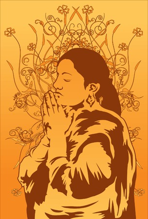 Image of a religious lady who is praying for the god above. Stock Vector - 7180394