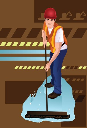 Image of a janitor who is cleaning the floor with a mop.