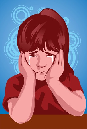 sullenly: Image of a kid who is crying her eyes out from sadness Stock Photo