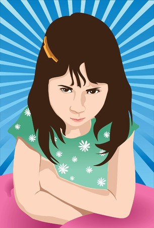 sullenly: Image of a girl who is so angry and mad at the world. Stock Photo