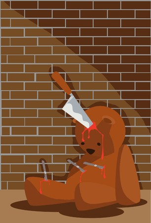 stabbed: Image of a dying teddy bear who is stabbed in the head on Halloween.