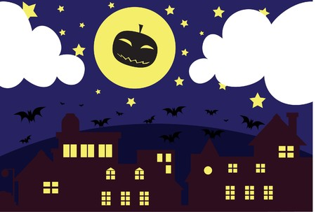 hades: Image of a pumpkin ghost flies in the moon on Halloween night. Stock Photo