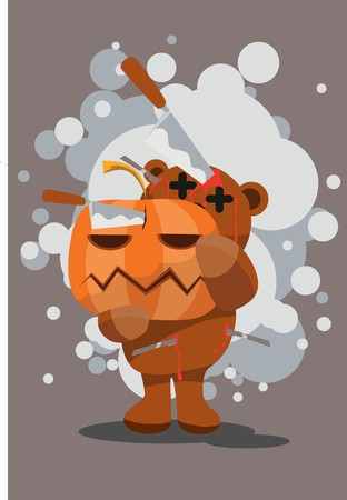 hades:  Image of a dying teddy bear and pumpkin that are stabbed in the head on Halloween.