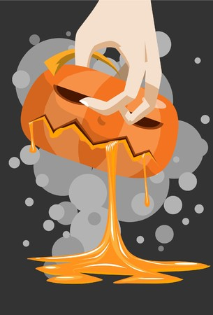 hades: Image of the pumpkin which is blood leaking through the mouth. Stock Photo