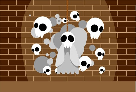 Image of  ghosts which is haunting the wall on Halloween photo