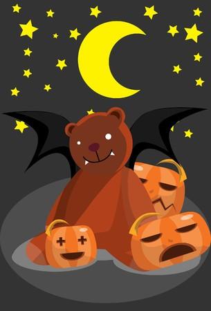 hades:  Image of a bear bat and pumpkin who is sleeping in Halloween night.