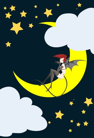 Image of a girl devil who is sites on crescent moon in Halloween night. photo