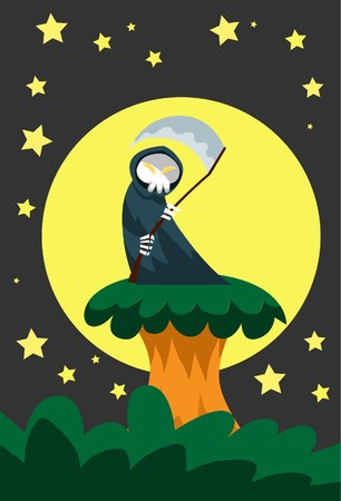 hades: Image of a angel of death who is standing on the tree podium on Halloween night.